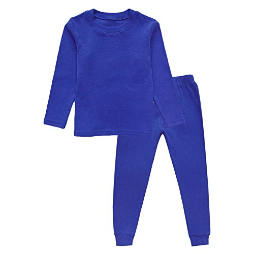 Little Girls Boys Thermal Underwear Long John Set Thermal Breathing Pajama Crewneck Top and Bottom 2PC Set, (Navy-Blue, -