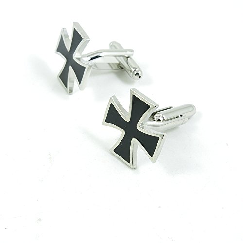 50 Pairs Cufflinks Cuff Links Fashion Mens Boys Jewelry Wedding Party Favors Gift RPL010 Black Cross by Fulllove Jewelry