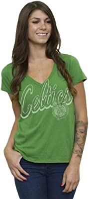 new concept 3eaff 064c8 NBA Boston Celtics Women's Vintage Solid Short Sleeve V-Neck T-Shirt, Kelly