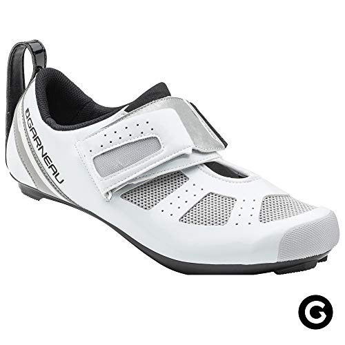 Louis Garneau Men's Tri X-Speed III Triathlon Cycling Shoes for Racing and Indoor Biking, Compatible with Major Road and SPD Pedals, White/Drizzle, US (9), EU (42) (White Drizzle)