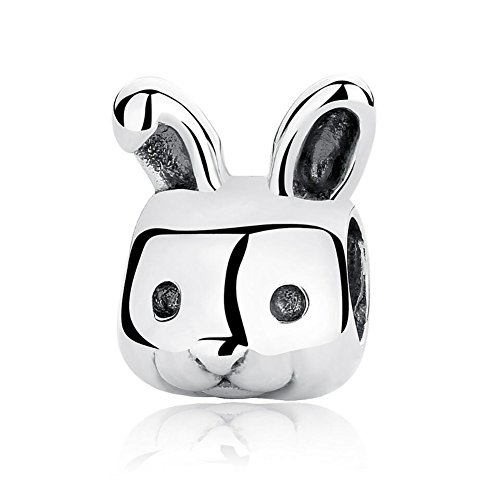 Lucky Animals Head Charm Authentic 925 Sterling Silver Pet Charms for European Bracelet (rabbit)