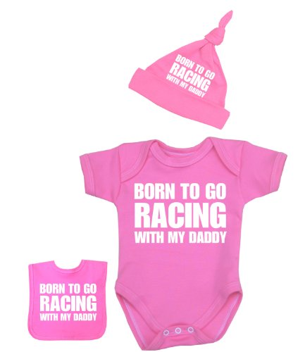 BabyPrem Baby Born to go Racing with my Daddy Bodysuit Set 0-12 mth PINK 0-3
