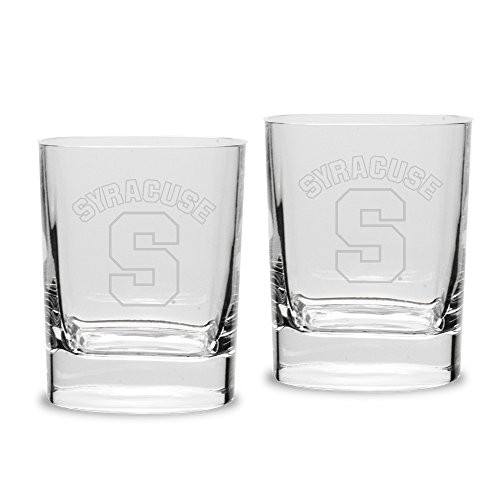 (University Glass NCAA Syracuse Orange 14 oz Square Double Old Fashion Glasses Deep Etched Engraved, One Size, Clear)