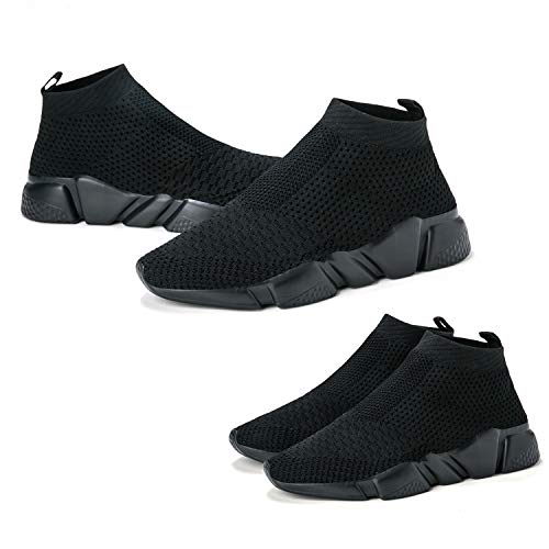 d34c1e4a6ece8 WXQ Men's Athletic Walking Shoes Lightweight Fashion Sneakers Breathable  Flyknit Running Shoes All Black 43