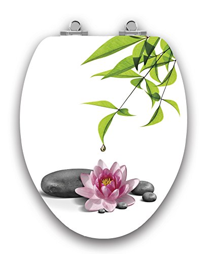 (TOPSEAT Art of Acryl Elongated Toilet Seat w/Slow Close Chromed Metal Hinges, Wood, Water Lily)