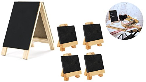 Maison Plus 9 Pc Mini Slate Markers Set (3.15'' X 2.13'') with Lily Cook Double Sided Chalkboard Table Easel (4.5'' X 8.2'') - For Parties, Seat Assignments, Food Displays, Any Special Events. by Maison Plus/Lily Cook