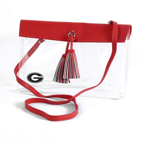 (Desden Georgia Bulldogs Clear Handbag with Logo, Vegan Leather Trim and Tassels )