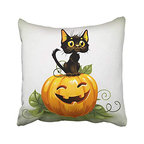 Abaysto Orange Happy Cute Black Cat on Halloween Pumpkin Harvest Cartoon Leaves Kitty Sad Scary Animal Pillow Cases Cushion Case Size 16x16 Inches Personalized -