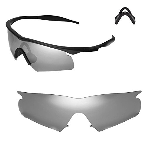 Walleva Replacement Lenses or Lenses With Nosepad for Oakley M Frame Hybrid - 40 Options Available (Titanium Mirror Coated - Polarized+ - Lens Clear Titanium Oakley