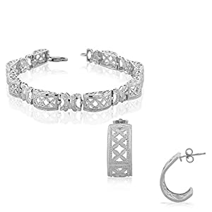 925 Sterling Silver Diamond-Cut Tennis Bracelet Half-Hoop Earrings Jewelry Set