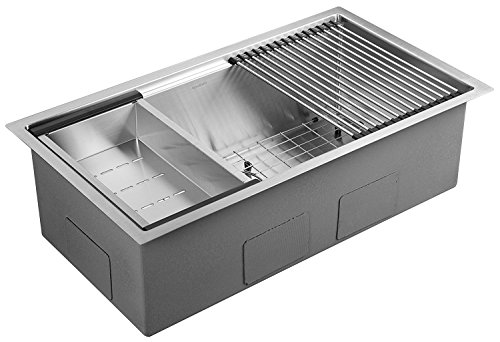 (AguaStella AS3218 Stainless Steel Undermount 32 Inch Single Bowl Kitchen Sink )