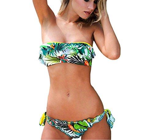 Mujeres Bikinis Piante Conjuntos Push Up Bañador a Colores Impresión Ropa de baño 2pcs Tops + Shorts Paradise