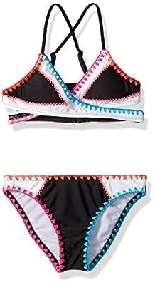 Hobie Girls' Big Wrap Bra Top & Hipster Bottom Swimsuit Set