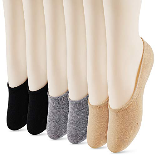 WISVOOO 3-6 Pairs No Show Socks Women Non Slip Thin Liner Socks for Flats Boat Cotton Invisible Hidden Socks (6 pairs(Black2+Beige2+Grey2), Women Shoe Size 5-8.5)
