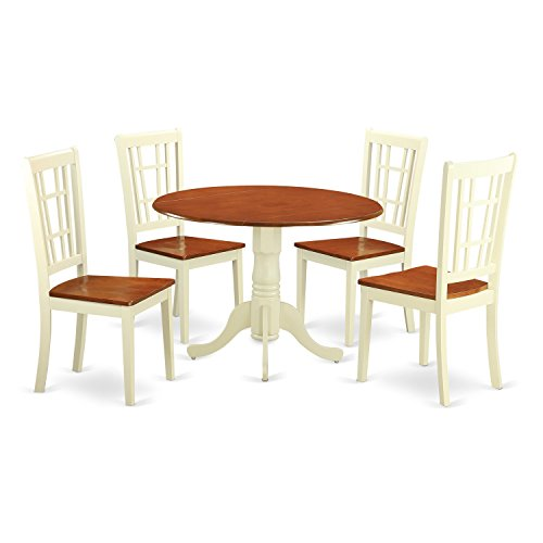East West Furniture DLNI5-BMK-W Dining Room Table and 4 Chairs Set for 4 People