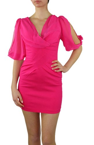 LnLClothing 3/4 Open Sleeve Dress, Hot Pink, Small