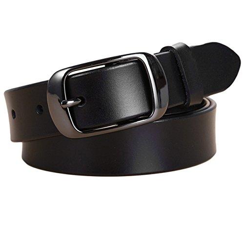 (Ayli Women's Jean Belt, Classic Buckle Handcrafted Genuine Leather Belt, Free Gift Box, Black, Fits Waist 34