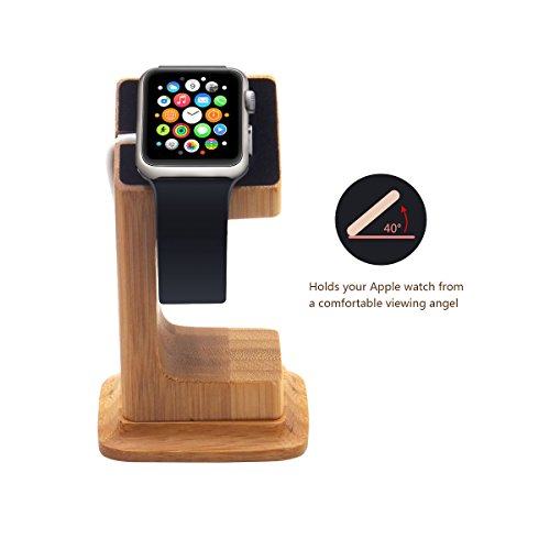 Blue Hole wood stand Compatible for iwatch, Stable Elevated Base Wood Charging Stand Dock Station, Nightstand Mode Compatible,Support Stand with integrated Cable Management Slot