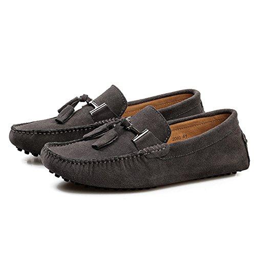 Tentoes Heren Casual Suede Leder Kwast Instapper Loafers Outdoor Lage Bootschoenen Rijdende Auto Mocassins Grijs