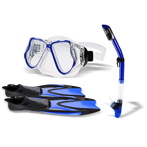 Trex125 Swimming Fins 2019 Underwater Adult Diving Set Diving Mask + Swimming Fins Flippers + Snorkel Tube Tempered Diving Glasses Set with Mesh Bag