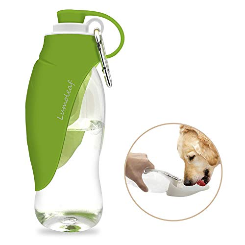 Portable Pet Water Bottle by LumoLeaf, Reversible & Lightweight Water Dispenser for Dogs and Cats, Made of Food-Grade Silicone (20 Oz) - Green