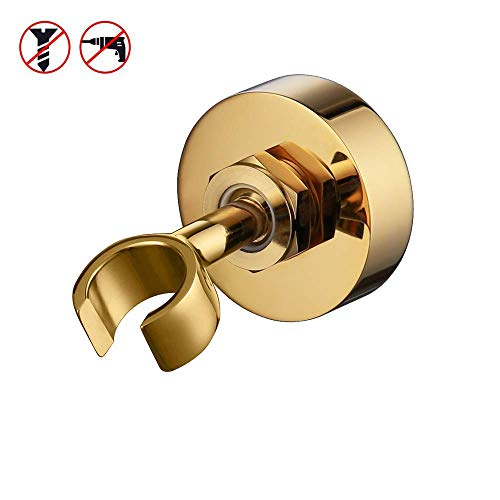 (KES All BRASS Handheld Shower Bracket Golden Hand Held Shower Wand Hose Sprayer Holder Drill Free Glue Wall Mount, C213-PG)