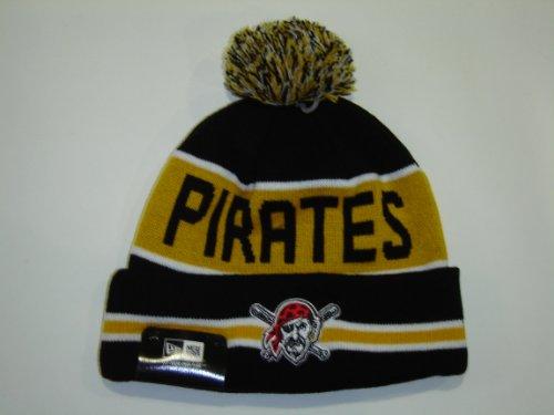 New Era MLB Pittsburgh Pirates Striped Cuffed Knit Pom Beani