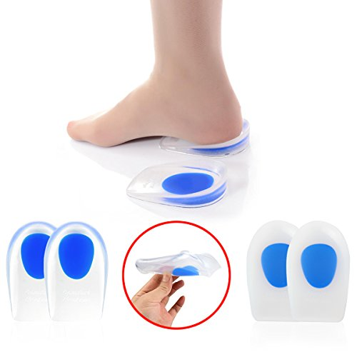 Heel Cups Plantar Fasciitis Inserts - 4pcs Silicone Gel Heel Cup Pads for Heel Spur and Pain Relieve by HLYOON