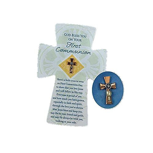 Abbey Gift   Single First Communion Cross Pin, 4.38 x 6.63