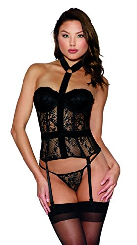 Dreamgirl Women's Black Lace Bustier with Lined Cups and Velvet Choker Detail - - Sets Bustier Dreamgirl