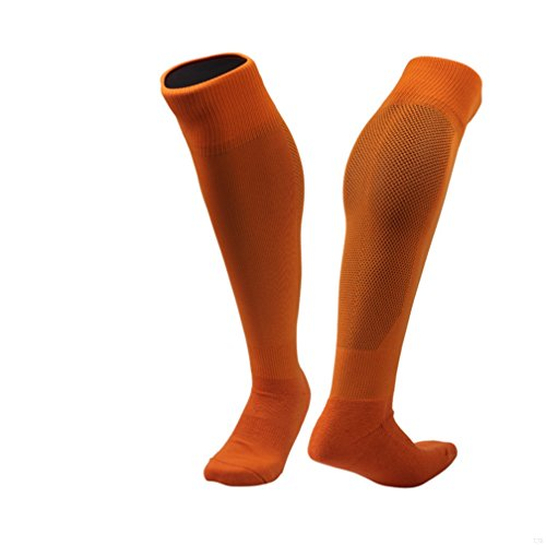 Velocity Athletic Knee High Football Socks Lightweight Quick Drying Comfortable Sports Stocking Sweat Easily Hose(Orange)