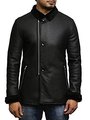 Mens Sheepskin Leather Jacket Real Warm Toscana Sheepskin Coat