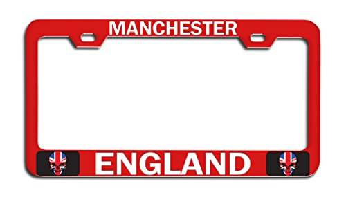 Manchester United License Plate - Makoroni - MANCHESTER, ENGLAND British England Rd Metal Auto License Plate Frame, License Tag Holder