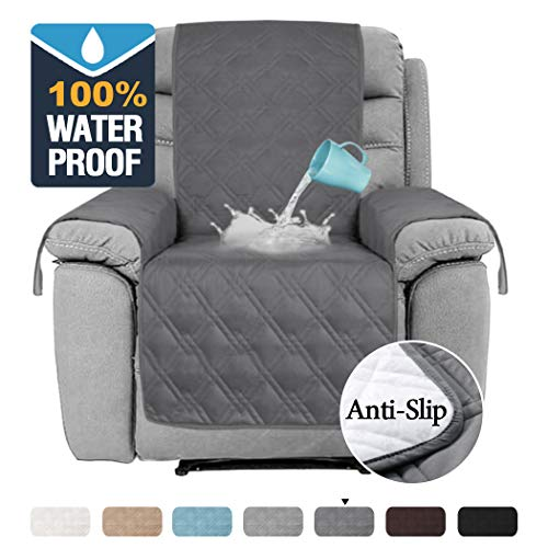 """H.VERSAILTEX 100% Waterproof Recliner Covers for Large Recliner Stay in Place Non Slip Recliner Chair Cover for Leather Waterproof Furniture Cover for Dogs Pets (Oversized Recliner 30"""", Grey)"""