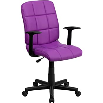 Flash Furniture Mid Back Purple Quilted Vinyl Swivel Task Chair With Arms