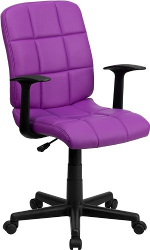 Flash Furniture Mid-Back Purple Quilted Vinyl Swivel Task Chair with Arms (Computer Purple Chair)