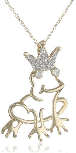 14k Yellow Gold Diamond Frog Prince Pendant Necklace (.04 ct)