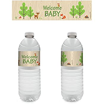 Woodland Animals Baby Shower Water Bottle Labels (Set Of 20)