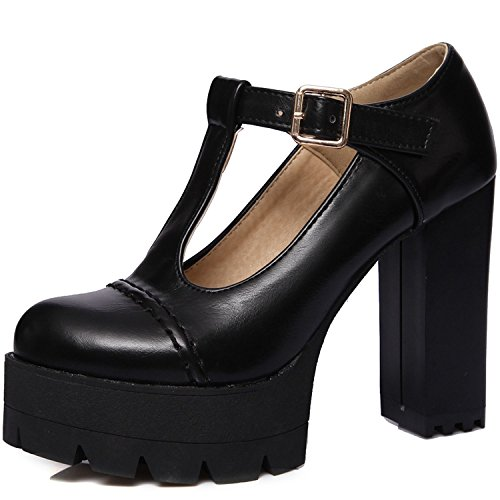 KingRover Buckle Vintage Uwabaki Shoes Platform Ankle Oxfords Leather Women's Strap Black aqawxrO