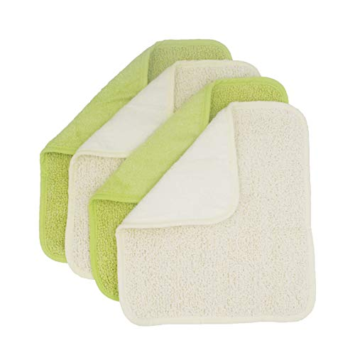 Natural Organic Bamboo and Cotton Dual Sided Washcloths Hand Towels Ultra Soft for Shower Bath Spa, Gentle for Body Face Sensitive Baby Skin, Pack of 4(Green and White)