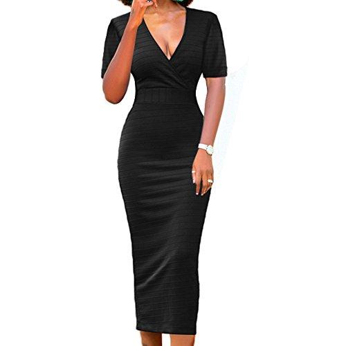 LAVENCHY Womens Vogue Short Sleeve Sexy Cocktail Evening Bodycon Slim Pencil Skirt Dress for Women Black,XL (Short Empire Dress Black Sleeve In)