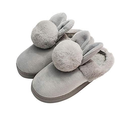 HRFEER Women Memory Foam Slipper Rabbit Ear Double Fur Ball Indoor Cotton Slippers for Girls (8-9 B(M) US=EU/FR 40-41=27 cm Length, Gray-1Ball-No Heel) -