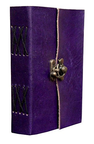 AOL Genuine Leather & Handmade Paper Diary Notebook Journal For Personal Use or Gift Size 4x6 (Purple) Antique Handmade Leather Bound Daily Notepad For Men & Women Christmas Musical Notes Clip Art