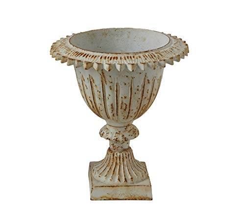Creative Co-Op Large Distressed Antique Cream Cast Iron Urn