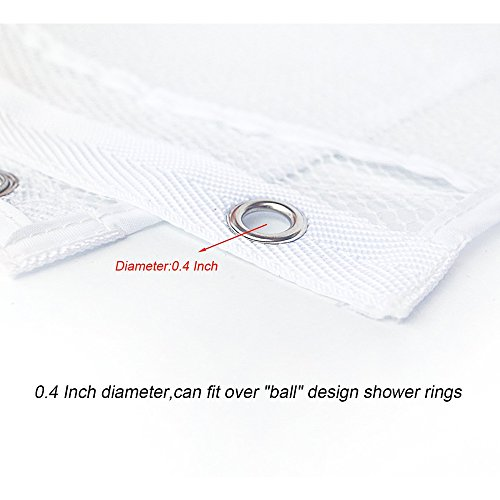 Hisight 2 Pack Quick Dry Hanging Mesh Bath Shower Organizer Shower Curtain with 6 Mesh Pockets and 4 Rings Hang on Rod Liner Hook Bathroom Save Space Bag Shampoo Conditioner Soap Storage (white) by Hisight (Image #3)
