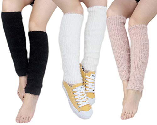 Santwo Women Winter Warm Crochet Knitted Boot Cuff Sock Short Leg Warmer 3 Pairs (Model 8) -