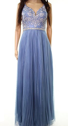 Nicole Miller Embroidered Women's Pleated Prom Gown Blue 4