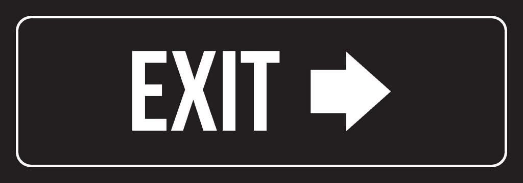 Black Background with White Font Exit Right Arrow Office Plastic Wall Sign (3x9) - Single