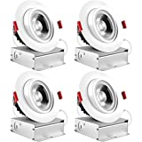 Luxrite 4 Inch LED Gimbal Recessed Light with Junction Box, 11W, 5000K Bright White, 1000 Lumens, Dimmable Adjustable Eyeball Light Fixture, IC Rated, Energy Star, ETL & Damp Rated (4 Pack)