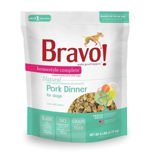 (Bravo Homestyle Complete Freeze Dried Dinner Pork Dog Food, 6-Pound)